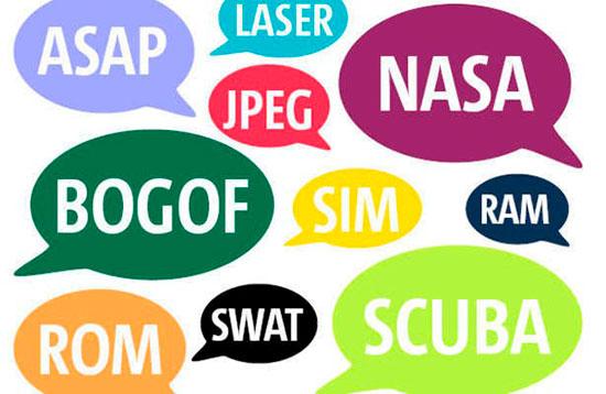 Примеры акронимов взятых из английского языка