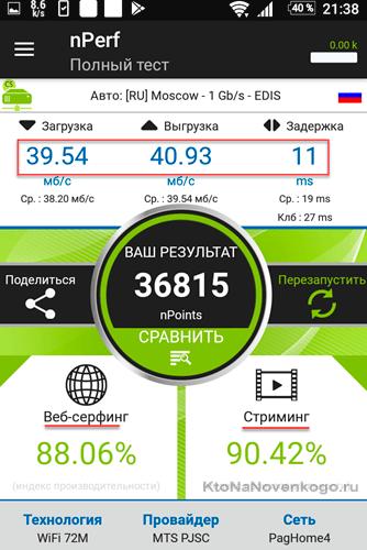Тест скорости интернета на телефоне