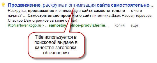 Тайтл используется в поисковой выдаче как заголовок объявления