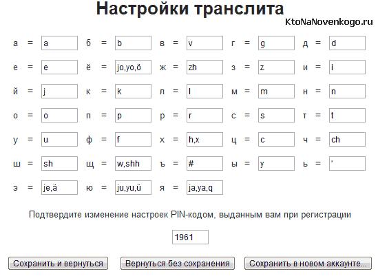 Настройки транслитерации в онлайн сервисе