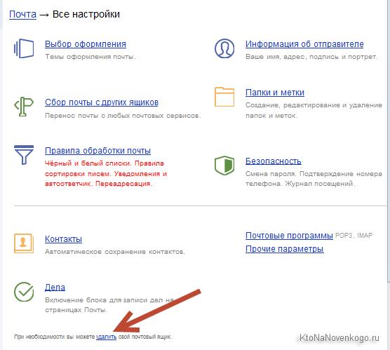 Как удалить ящик на Яндексе