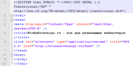 Как выглядит код Html документа