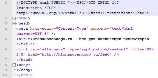 Пример html кода сайта