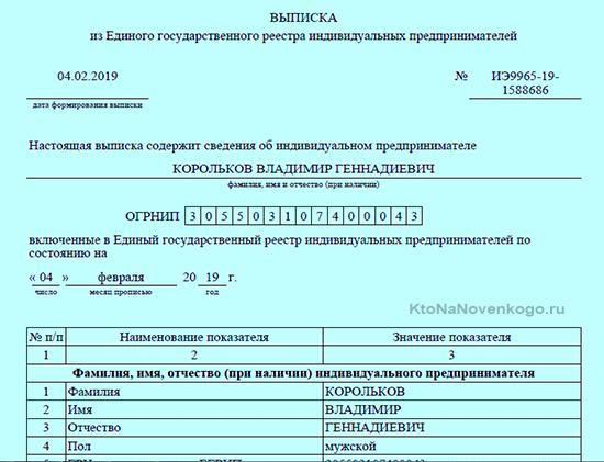 Выписка в формате pdf