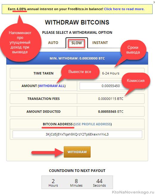 Вывод денег с сайта Free Bitcoin