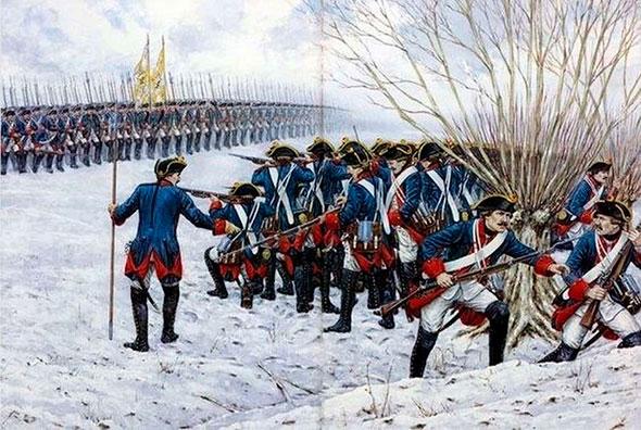 Служба рекрутов русской армии - иллюстрация военных учений