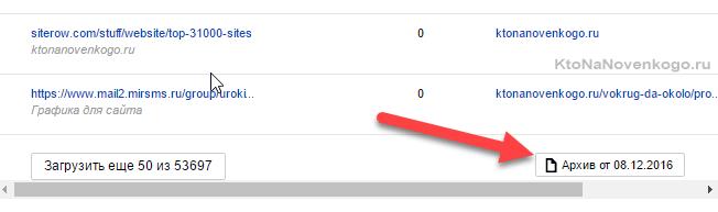 Выгрузка Всех внешних ссылок из Яндекс Вебмастера