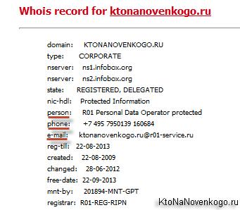 Чей домен - это запись whois
