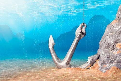 Якорь лежащий на дне моря