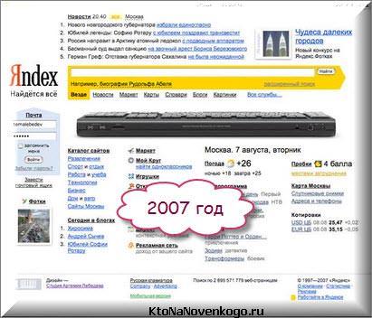 Яндекс в 2007 году