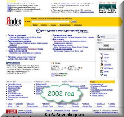 Как выглядел Яндекс в 2002 году