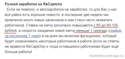 Уровень заработка на ReCaptcha