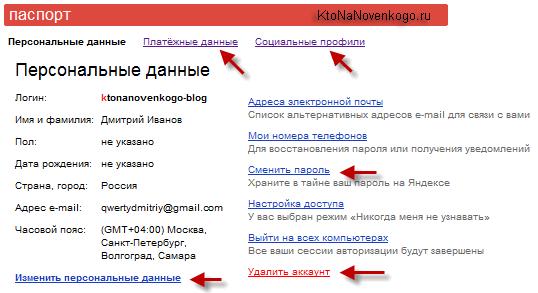Настройки вашего аккаунта в Яндексе