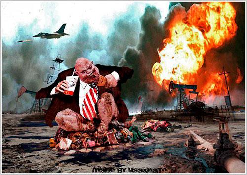 Пародия на мирового гегемона, жирующего на войне