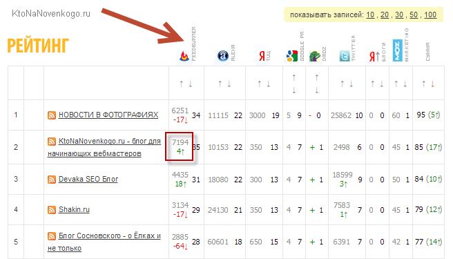Учет показаний счетчика FeedBurner в рейтингах сайтов