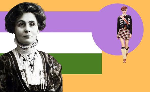 Флаг суфражисток и Эммелин Панкхёрст на его фоне